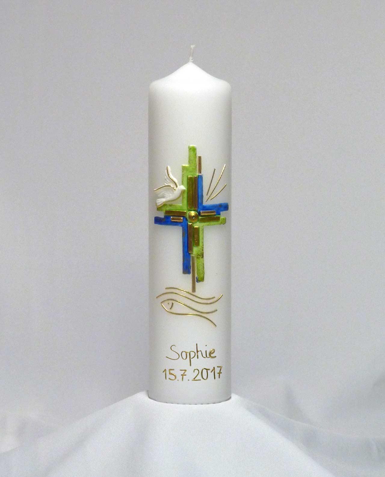 Taufkerze Kreuz grün-blau Mädchen